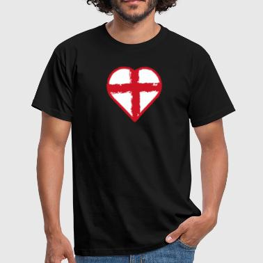 St Georges Cross Heart St George England flag - Men's T-Shirt