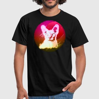 Trippy Sphynx Cat Shirt Retro Rave Haarloze Kat T-shirt Neon Kitty - Mannen T-shirt