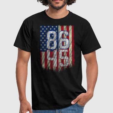 American 8645 Anti Trump Resist Trump Impeach 45 RWB USA Flag - Men's T-Shirt