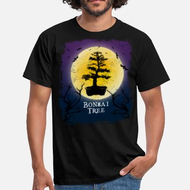 Fladdermöss Bonsai Tree Halloween Vintage Art Indoor Plant - T-shirt herr