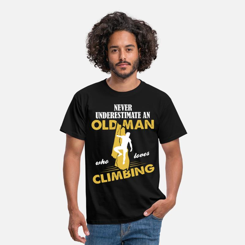 Rock T-Shirts - Never Underestimate An Old Man Who Loves Climbing - Men's T-Shirt black