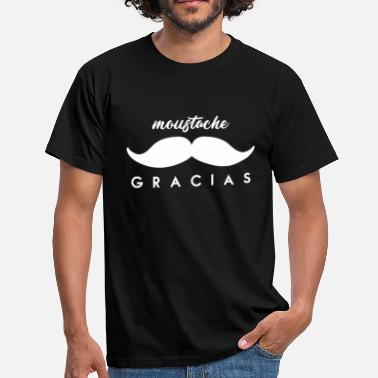 38c00a9494c Moustache Mouchos (Moustache) Gracias Merci beaucoup Blanc - T-shirt Homme