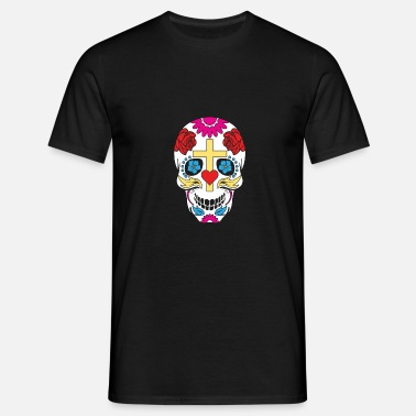 Suiker Schedel Sugar Skull With Cross Flowers Heart Mexican Pun - Mannen T-shirt
