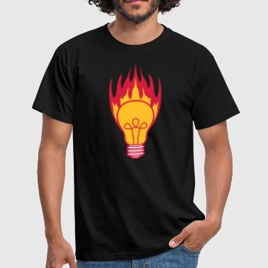 hot fire flames burning light bulb light electricity - Men's T-Shirt