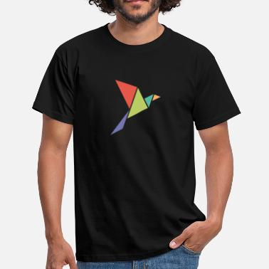 Origami Bird fly - bird - origami - color - color - free - Men's T-Shirt