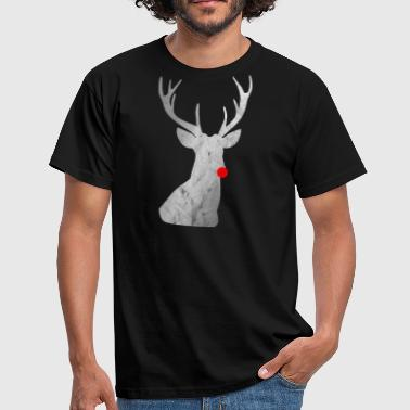Red Nosed Reindeer Distressed Reindeer - reindeer with red nose - Men's T-Shirt