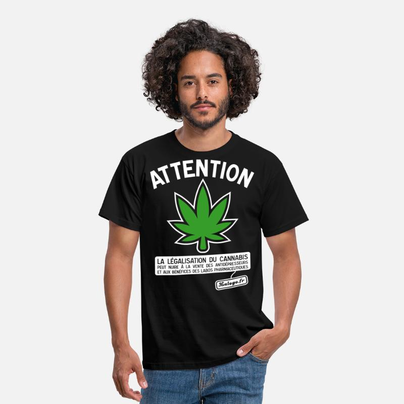 Cannabis T-shirts - Attention cannabis !!! - T-shirt Homme noir
