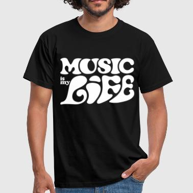 Gesang Music is life  * Flower Power 70s style Musik  - Männer T-Shirt