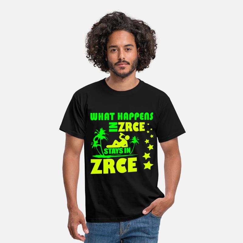 Zrce T-Shirts - WHAT HAPPENS IN ZRCE STAYS IN ZRCE - Men's T-Shirt black
