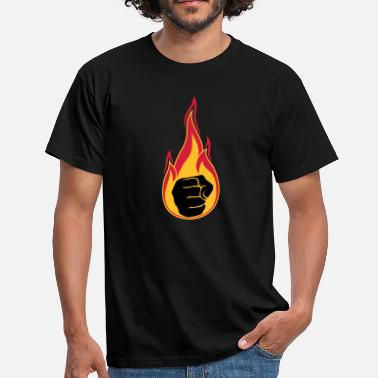 Fireball hot flames burn fire fist hand clenched - Men's T-Shirt