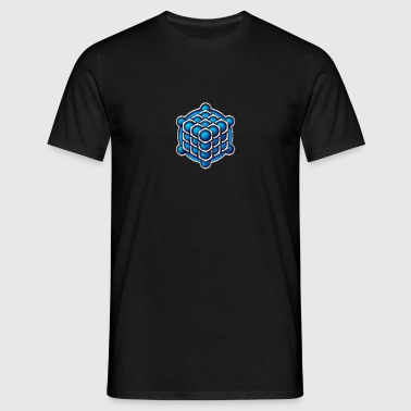 3D Cube - crop circle - Metatrons Cube - Hexagon / - Men's T-Shirt