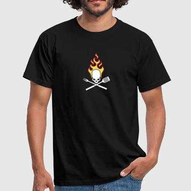 fire_skull_cook_112011_a_3c - Men's T-Shirt