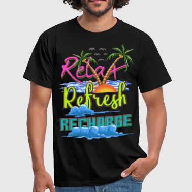 Old Computer Relax Refresh Recharge Pixelart Gamer Design - Men's T-Shirt