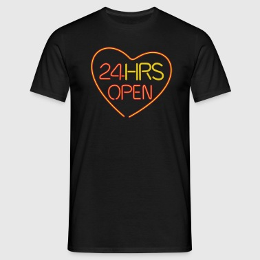 neon: 24 hrs open heart - Mannen T-shirt