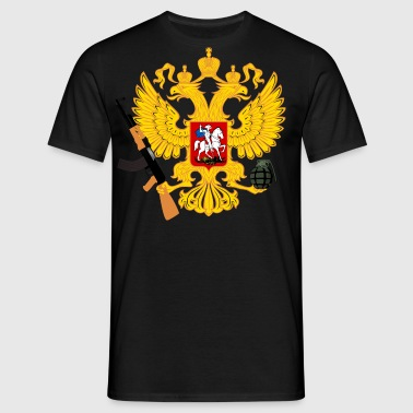 Russia Coat of arms with Kalashnikov and handgranate - Men's T-Shirt