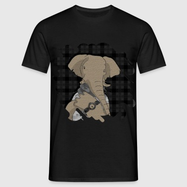 Hipster Elephant  mixed media digital art collage  - Men's T-Shirt