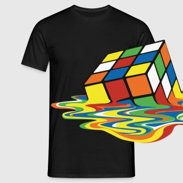 Rubik's Cube Melted Colourful Puddle - Mannen T-shirt
