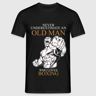 Never Underestimate An Old Man Boxing.png - Men's T-Shirt