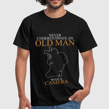 Never Underestimate An Old Man Camera.png - Men's T-Shirt