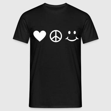 Love Peace be Happy * smile peaceteken vrede - Mannen T-shirt