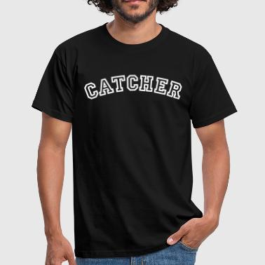 catcher curved college style logo - Men's T-Shirt