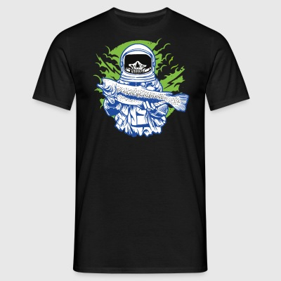 The skeletal astronaut while fishing. - Men's T-Shirt