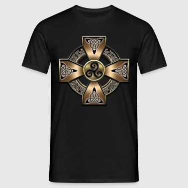 Gold Breiz Celtic Cross.png - T-shirt Homme