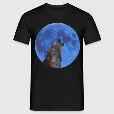 Galaxy Wolf and blue moon - Men's T-Shirt