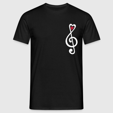 Music, heart notes, classic, treble clef, violin - Men's T-Shirt