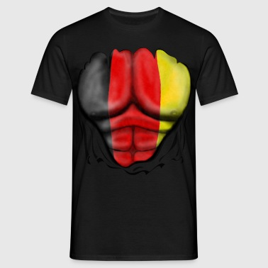 Germany Flag Ripped Muscles, six pack, chest t-shirt - Men's T-Shirt
