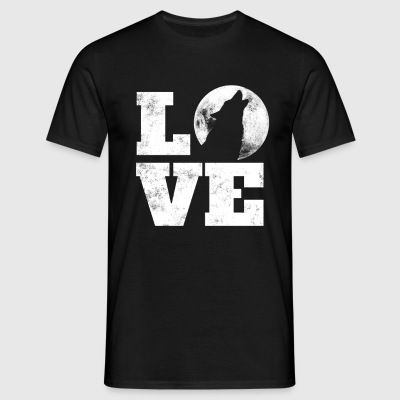 Wolf Saying - Wolf On Moon Heart Wolves - LOVE Tee - Men's T-Shirt