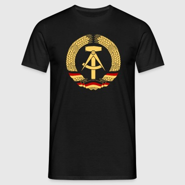 East Germany Crest Flag Wreath GDR DDR Emblem - Men's T-Shirt