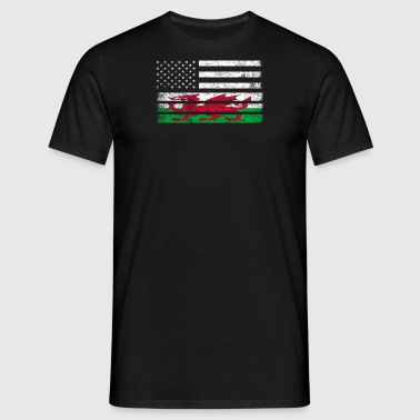 Welsh American Flag - USA Wales Shirt - Herre-T-shirt