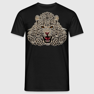 Cheetah at roar in mosaic - Men's T-Shirt