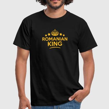 romanian  king keep calm style crown sta - Men's T-Shirt