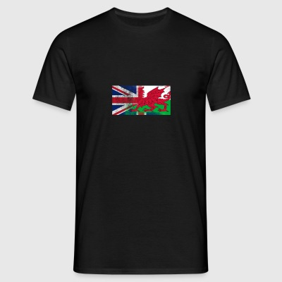 British Welsh Half Wales Half UK Flag - Men's T-Shirt