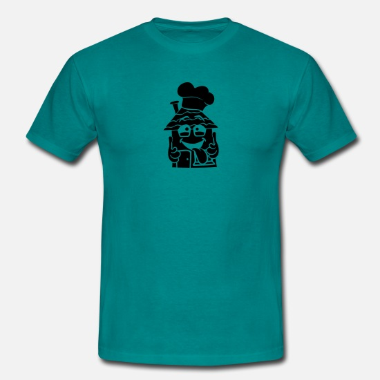 Apartment T-Shirts - logo Dining Chef Chef's Hat dinner fast food snack - Men's T-Shirt diva blue