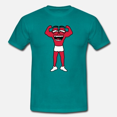 Cartoon Muscle bodybuilder strong poser fitness exercising - Men's T-Shirt