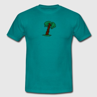 palm comic cartoon lonely tree coconuts - Men's T-Shirt