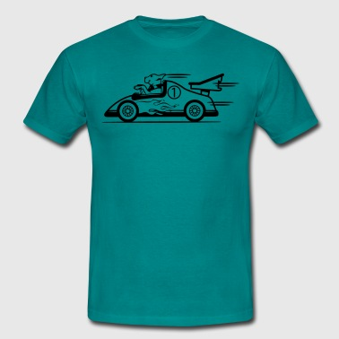 Funny race car dog - Men's T-Shirt