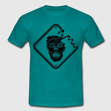 danger warning sign caution dangerous face horror  - Men's T-Shirt