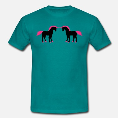 Fighting Unicorn 2 friends fighting enemies fight unicorn pink hors - Men's T-Shirt