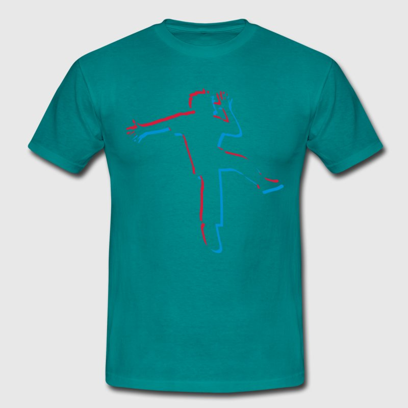 dancing man party silhouette cool jump 3d colorful - Men's T-Shirt