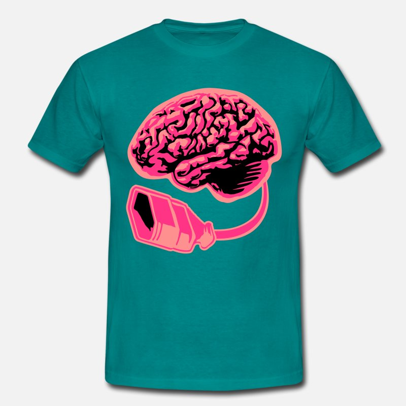 Computer T-Shirts - Connecting thinking brain power plug electronicall T-Shirts - Men's T-Shirt diva blue