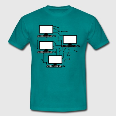 lanparty networked gamer gamble connected pattern  T-Shirts - Men's T-Shirt