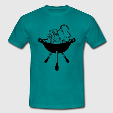 blood head zombie bbq food cook cooking chef, mast - Men's T-Shirt