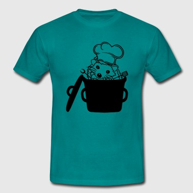 pot cooking barbecue chef-kok schort chef hoed tur - Mannen T-shirt