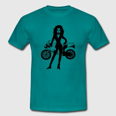Motorbike woman girl - Men's T-Shirt