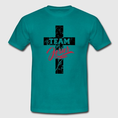 Team crew friends crosses scratches old text writi - Men's T-Shirt