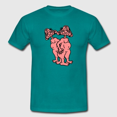 2 old opas naked man ugly disgusting monster horro - Men's T-Shirt